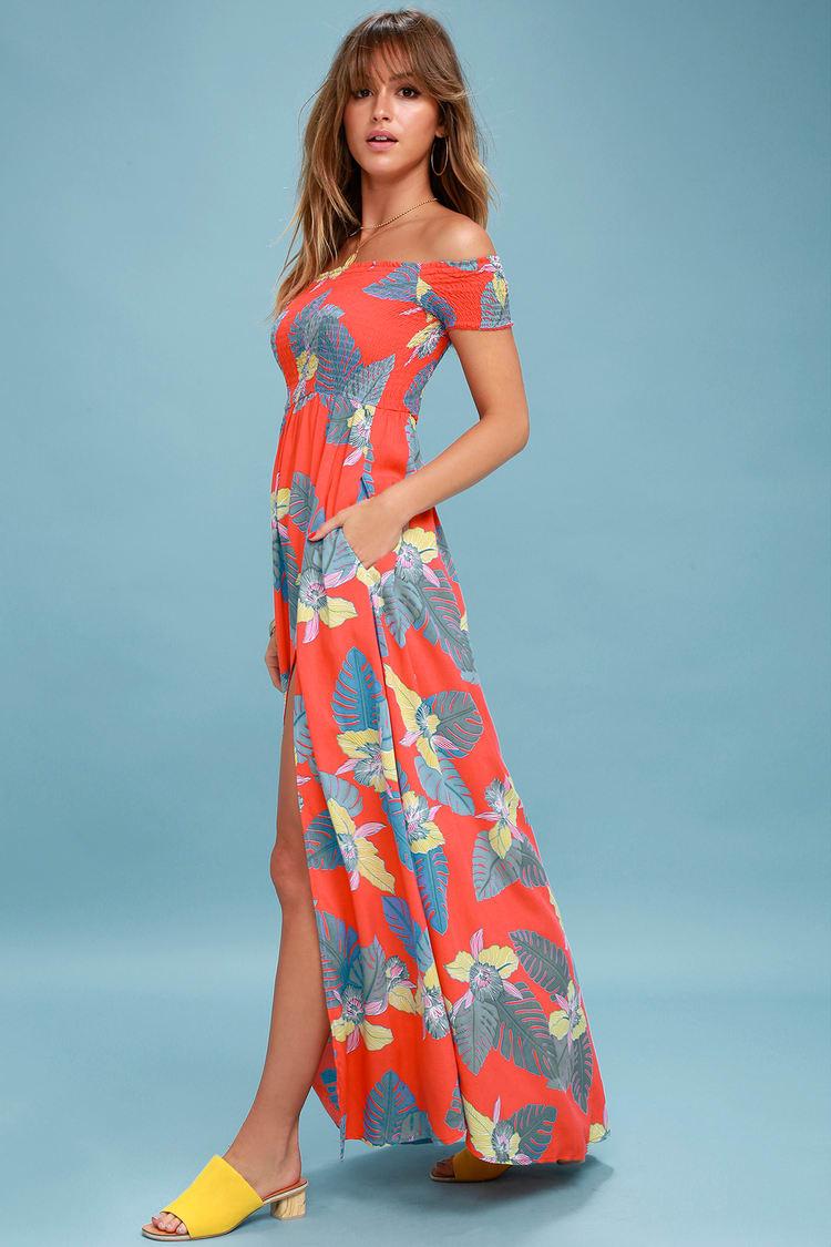Coral floral summer maxi dress