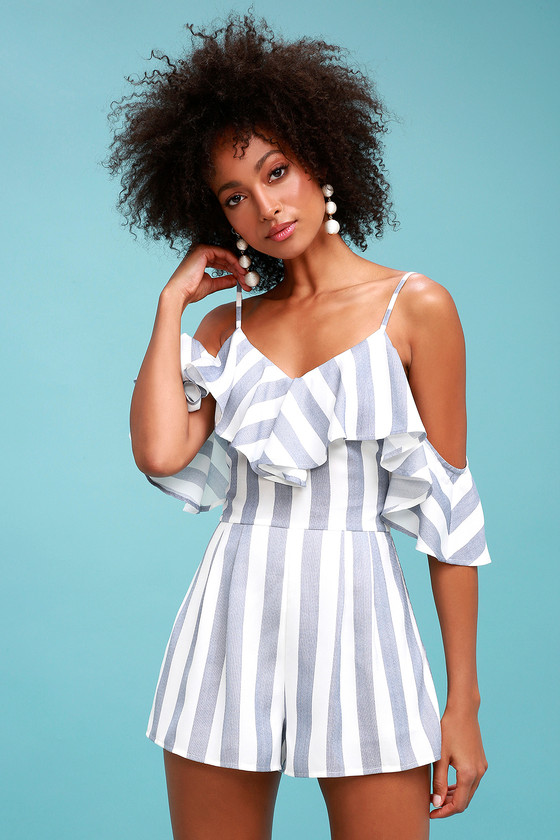 Blue and white striped romper for gender reveal party