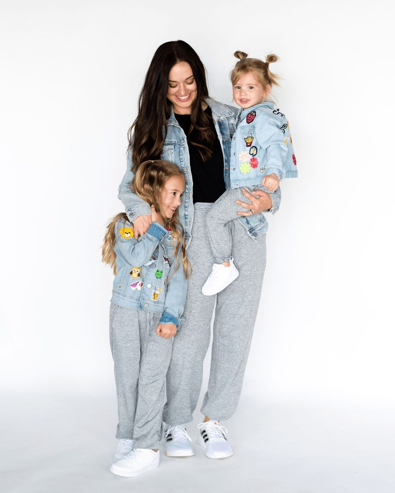 Casual matching grey joggers for mom and daughters