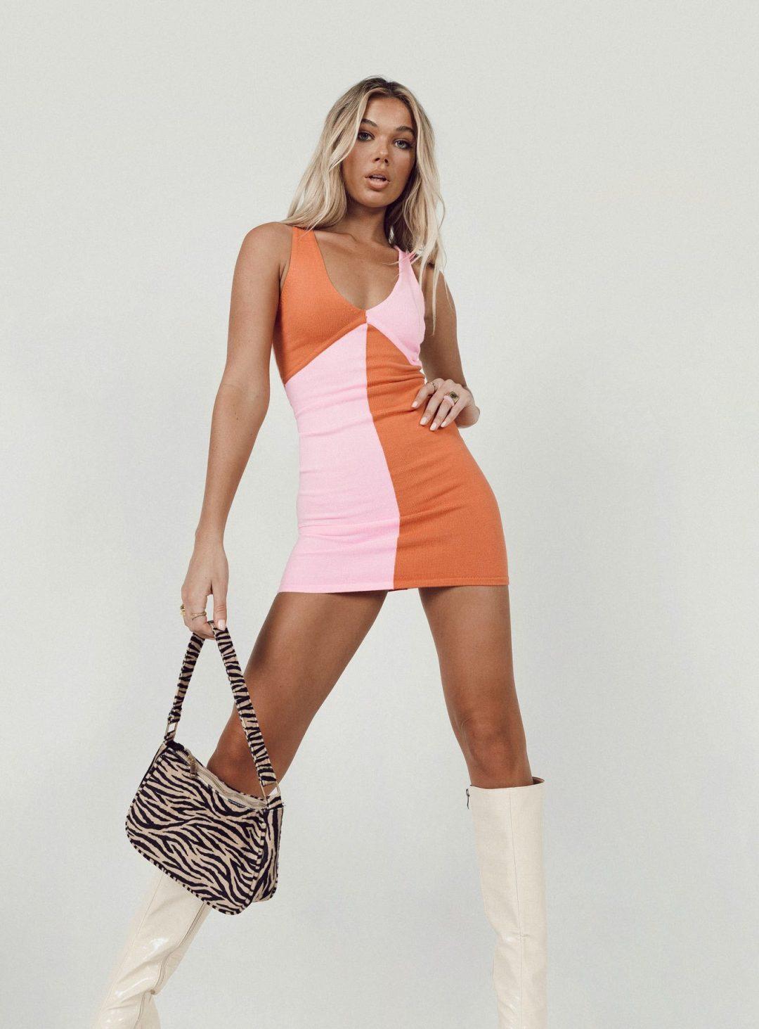 Pink and bur t orange color block dress