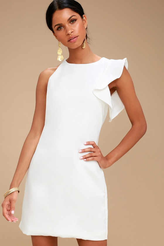 Plain white mini dress with ruffles on one shoulder