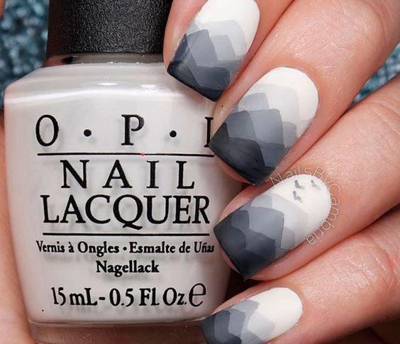 Abstract mountain grey nails