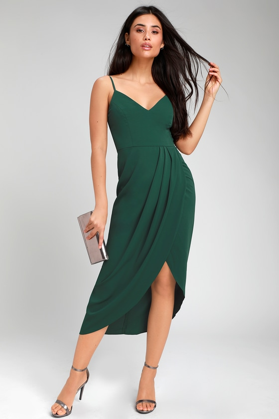 Simple emerald green midi dress