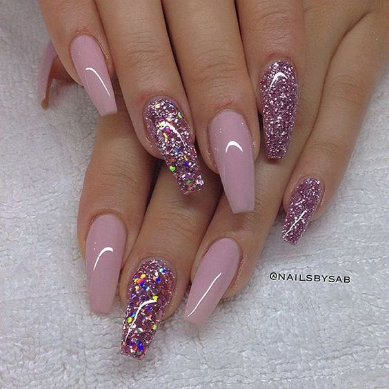 Mauve pink gel nails with glitter