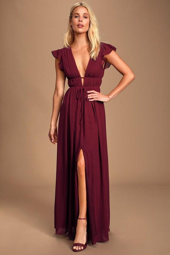 Burgundy summer maxi dress