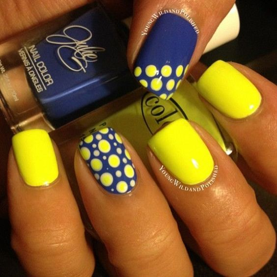 Yellow nails with blue design