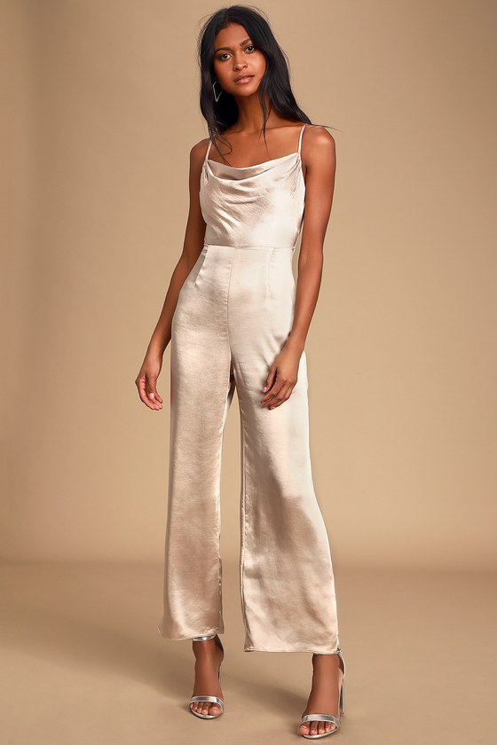 Satin ivory jumpsuit for date night outfits