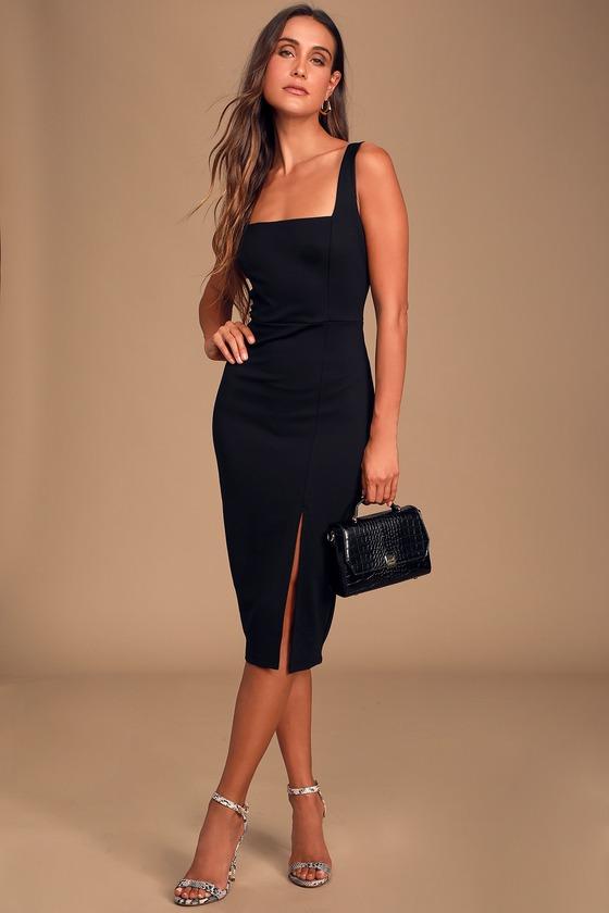 Plain black midi dress with slit