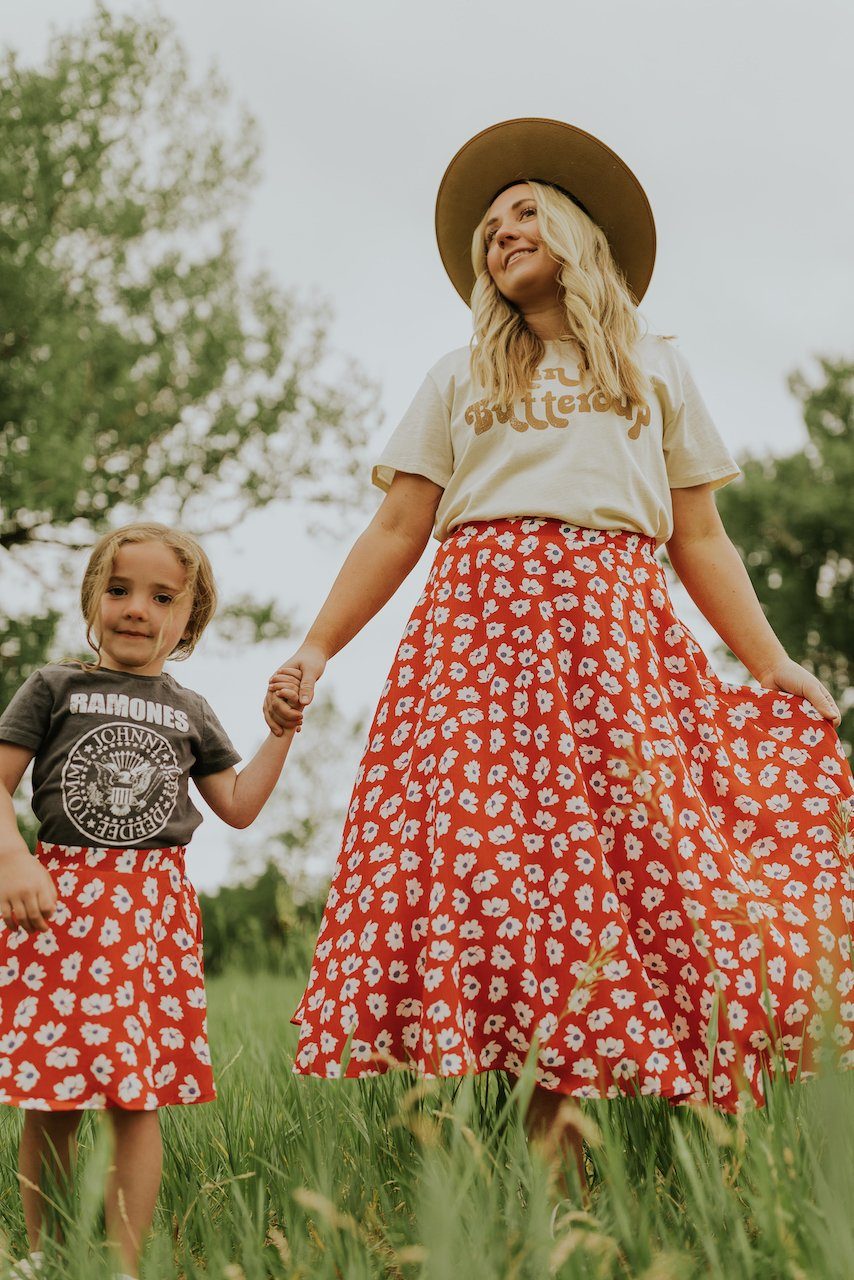 Floral skirts for mommy and me outfit
