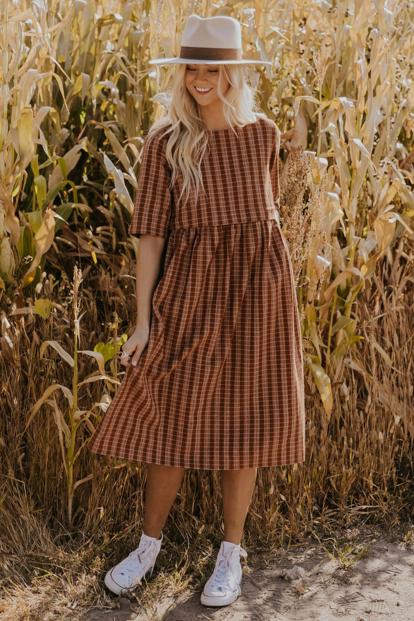 Brown checkered house dress