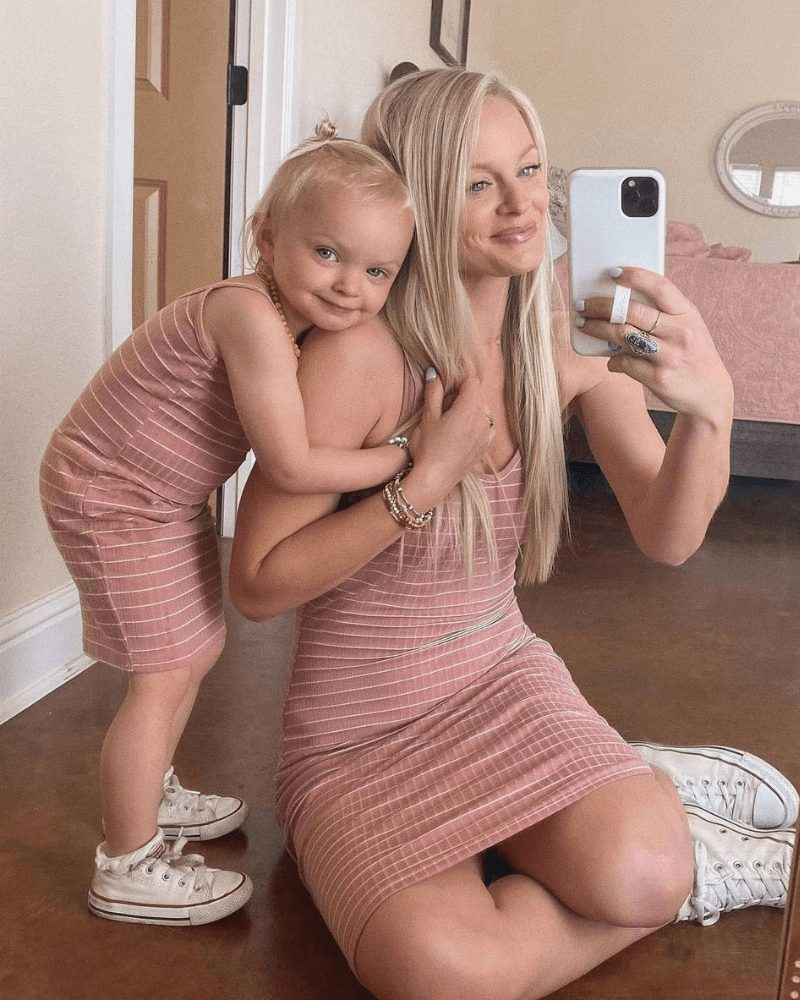 Dusty pink bodycon dress mommy and me outfit
