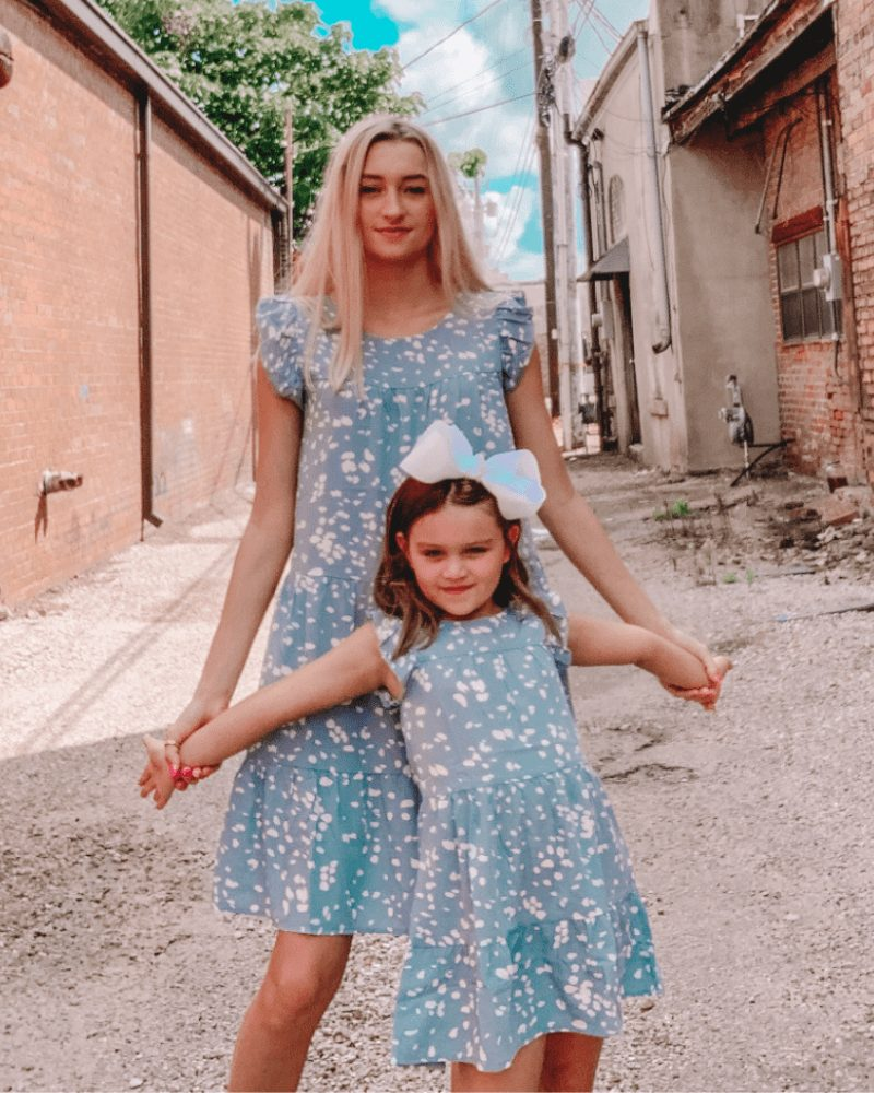 Blue ruffled dress mommy and me outfit