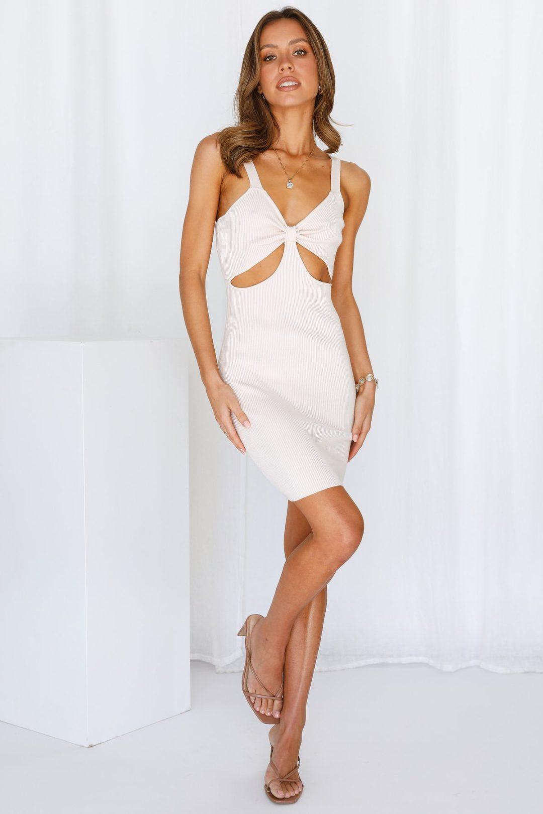 Sexy white cut-out dress