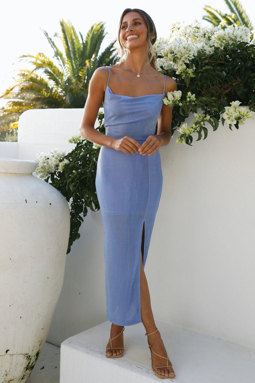 Simple blue maxi dress
