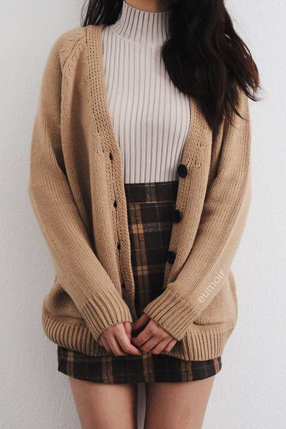 Ribbed turtleneck top and plaid skirt with brown cardigan for back to school outfits