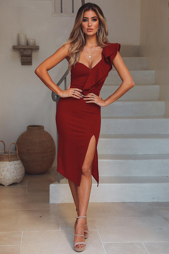 Deep red dress with ruffled wedding guest outfit