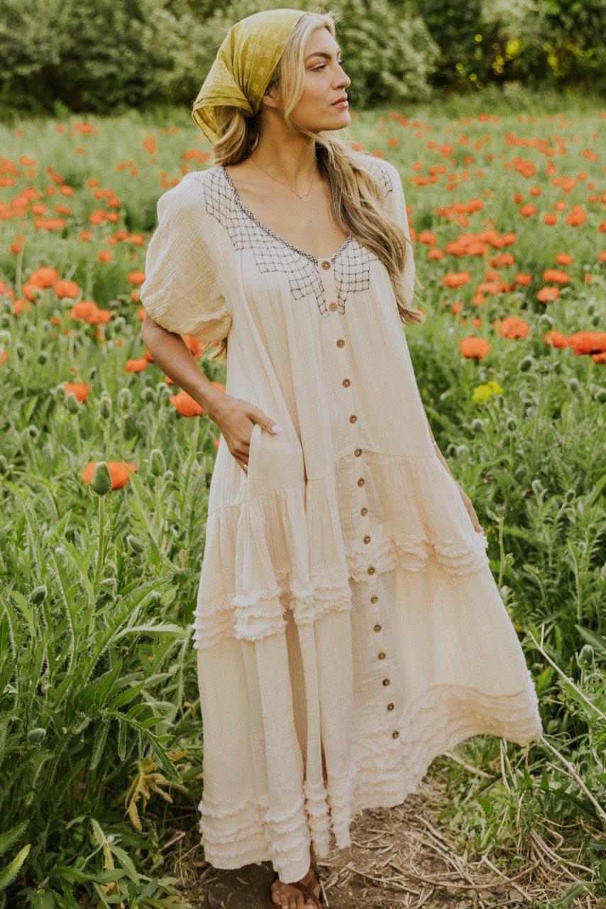 Flowy beige summer maxi dress