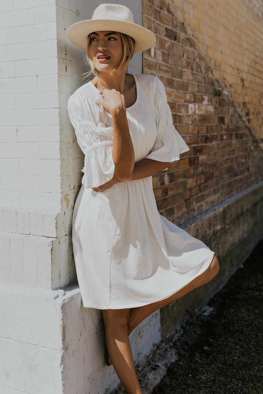 White nursing dress for nursing moms
