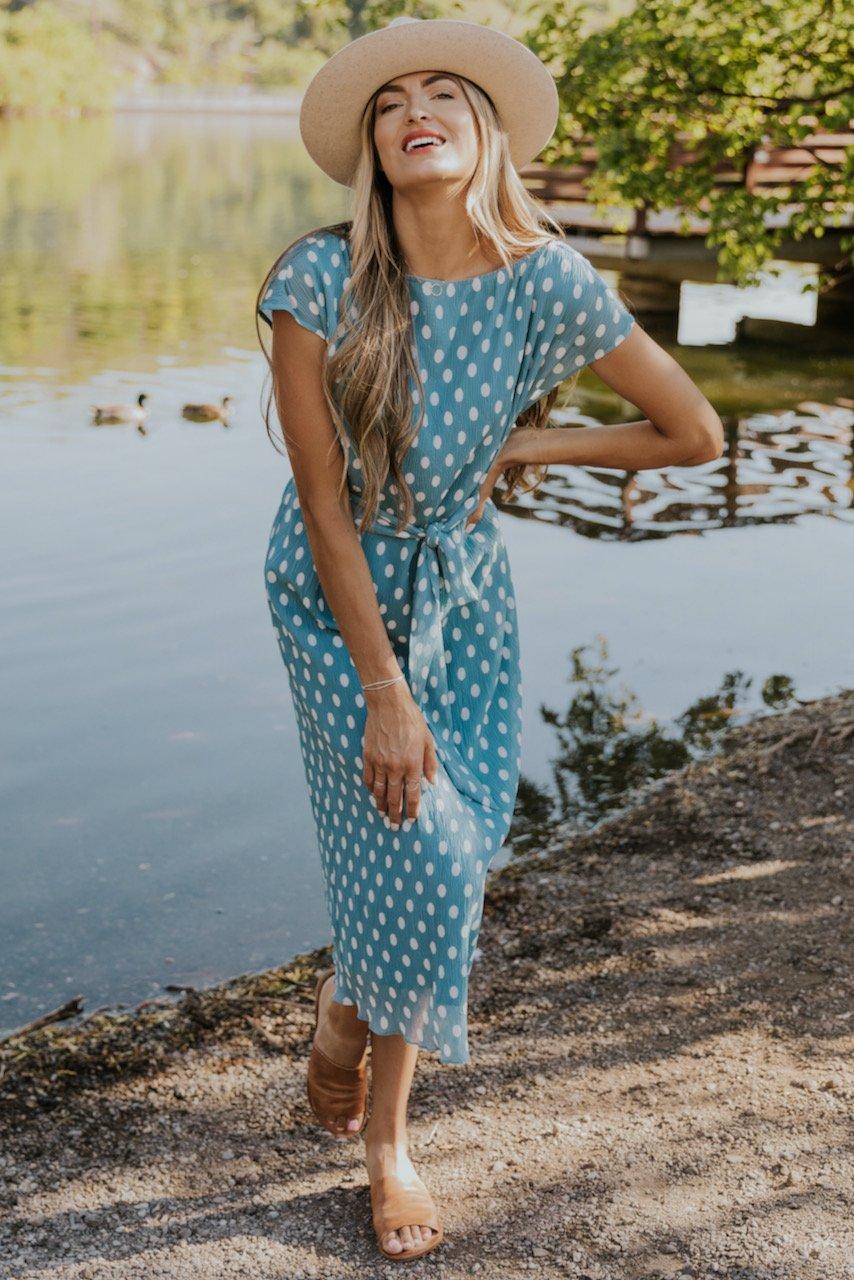 Blue polka dot summer maxi dress
