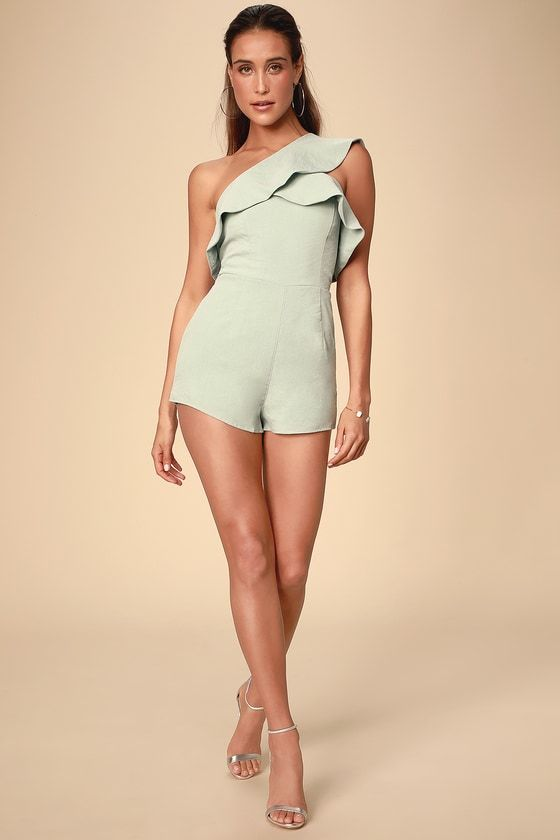 Sage green romper with ruffles