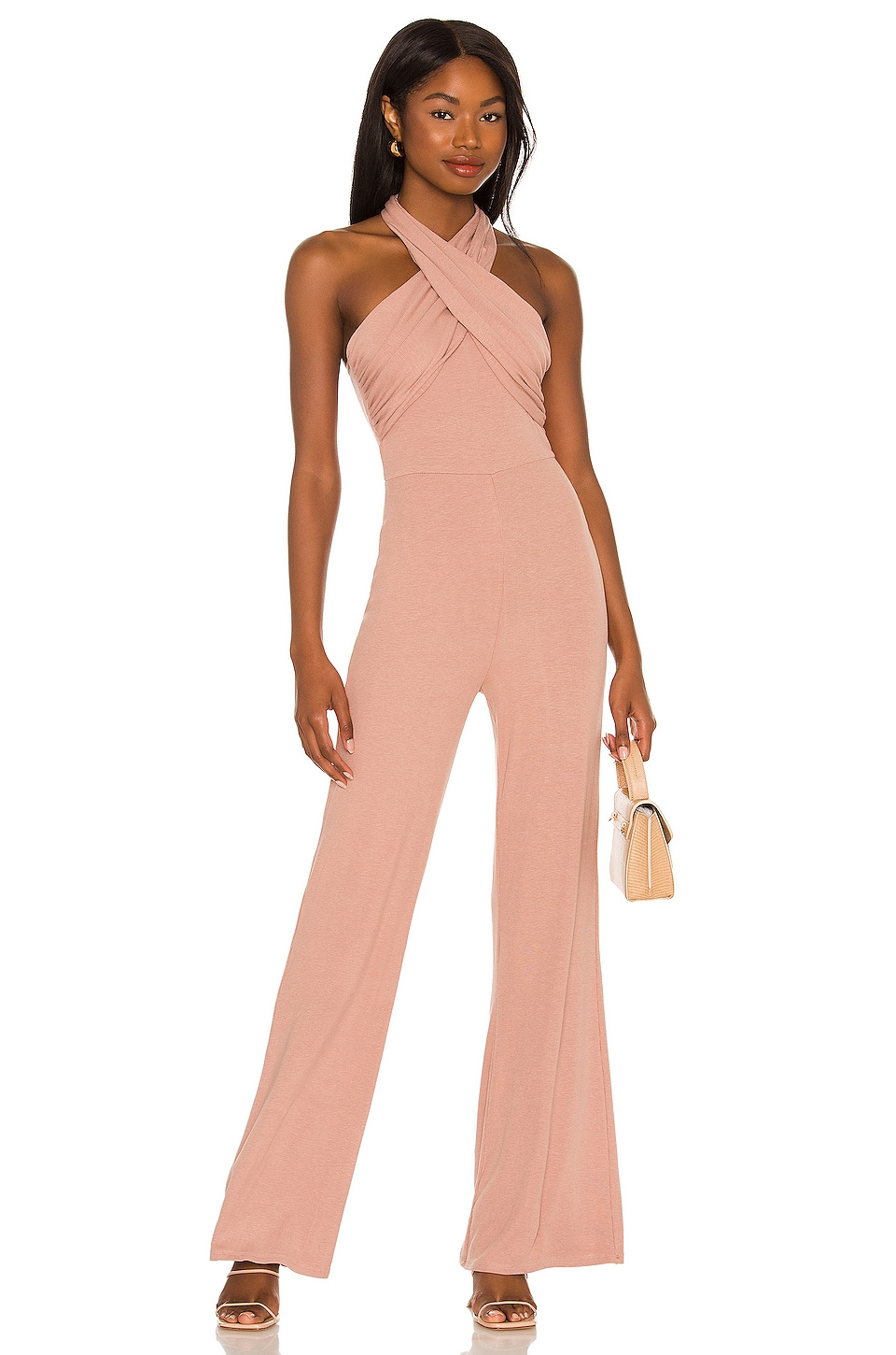 Dusty pink jumpsuit wedding guest outfit