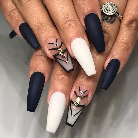 Matte black and white nails with rhinestones