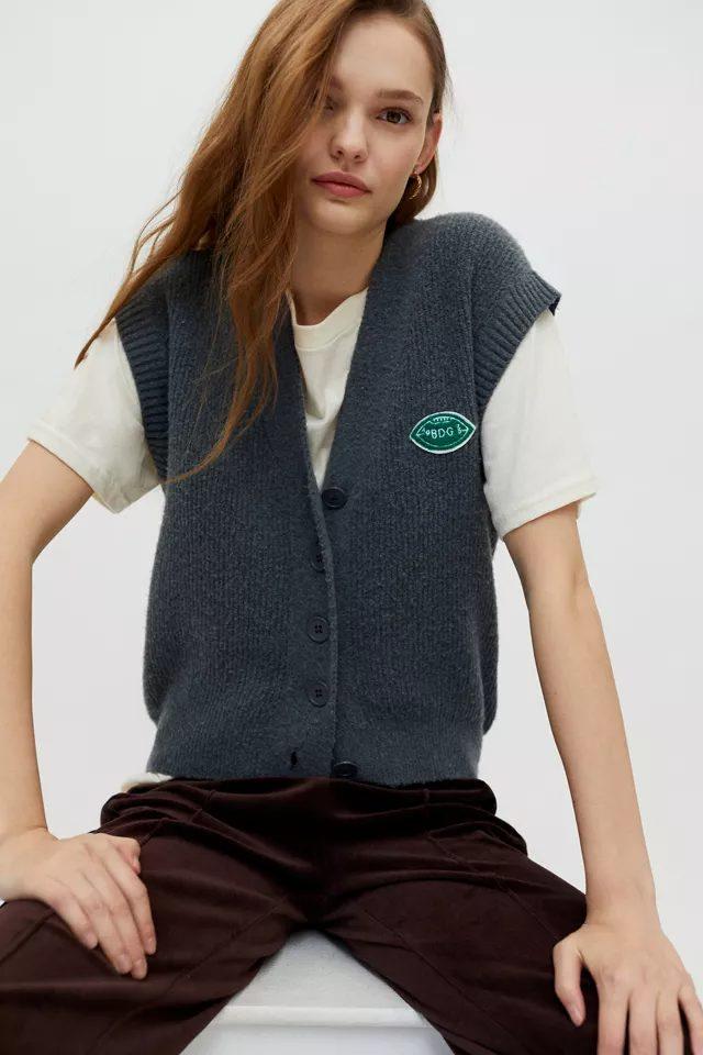 Grey preppy sweater vest for women