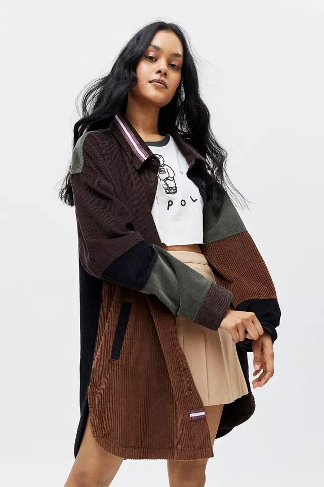 Multi-color corduroy jacket for dark academia outfits