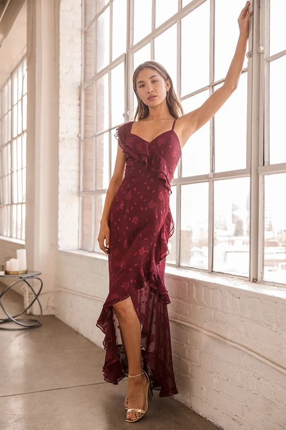 Burgundy lace bridesmaid dress from Lulus