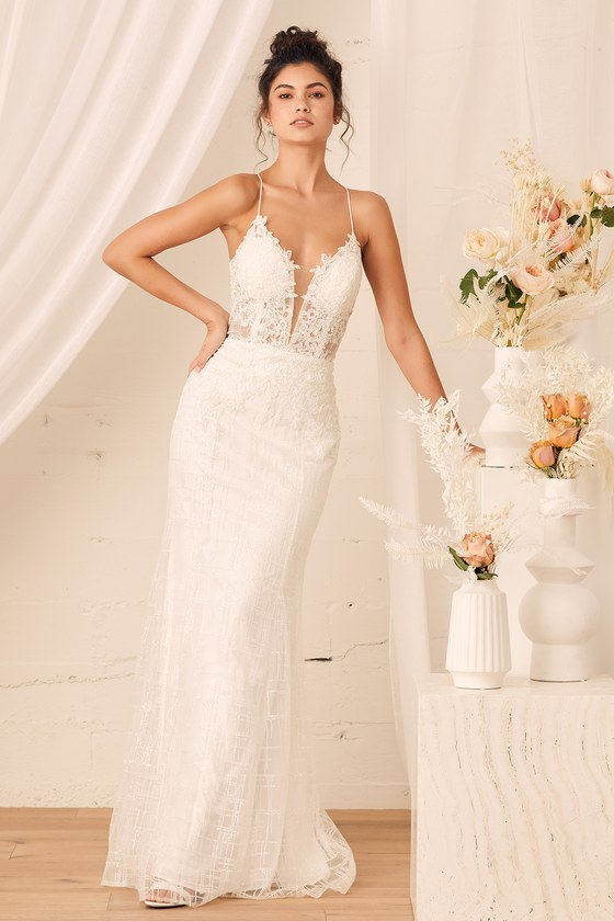 Long simple wedding dress