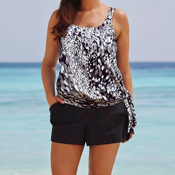 Black and white printed tankini with boy shorts