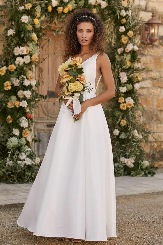 Simple white affordable wedding dress