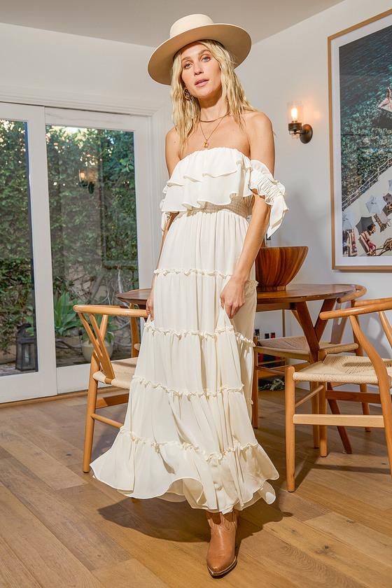 Flowy bardot summer maxi dress in cream