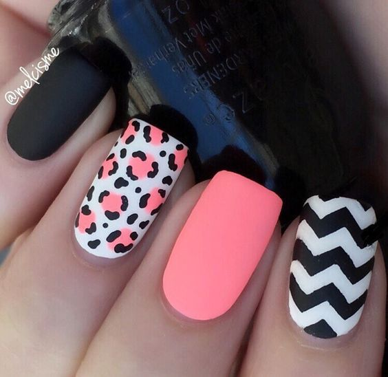 Pink and black matte leopard nails