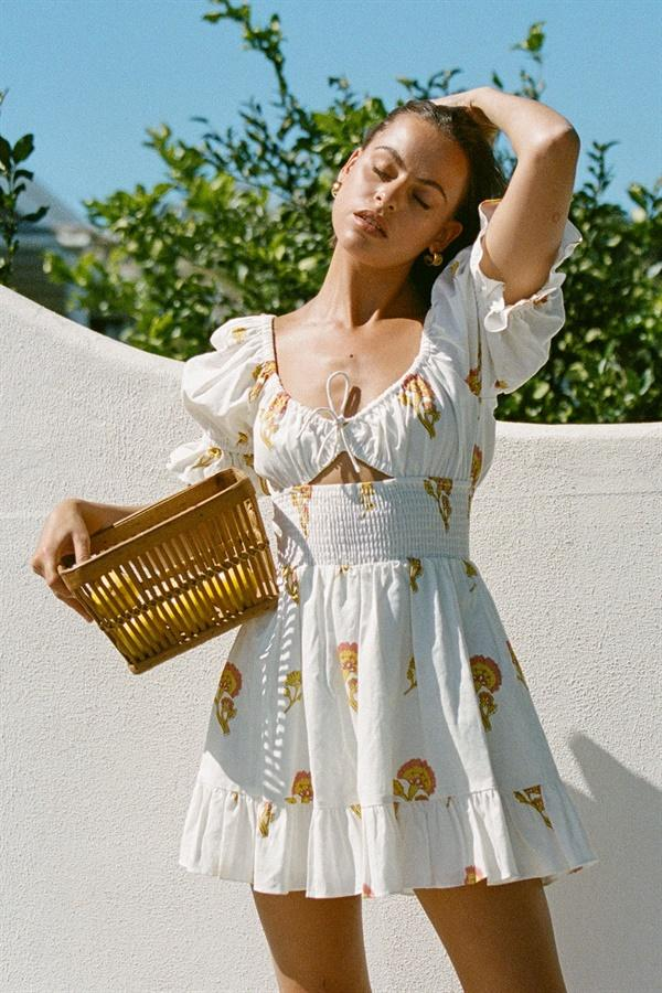 Milkmaid style white dress with floral prints