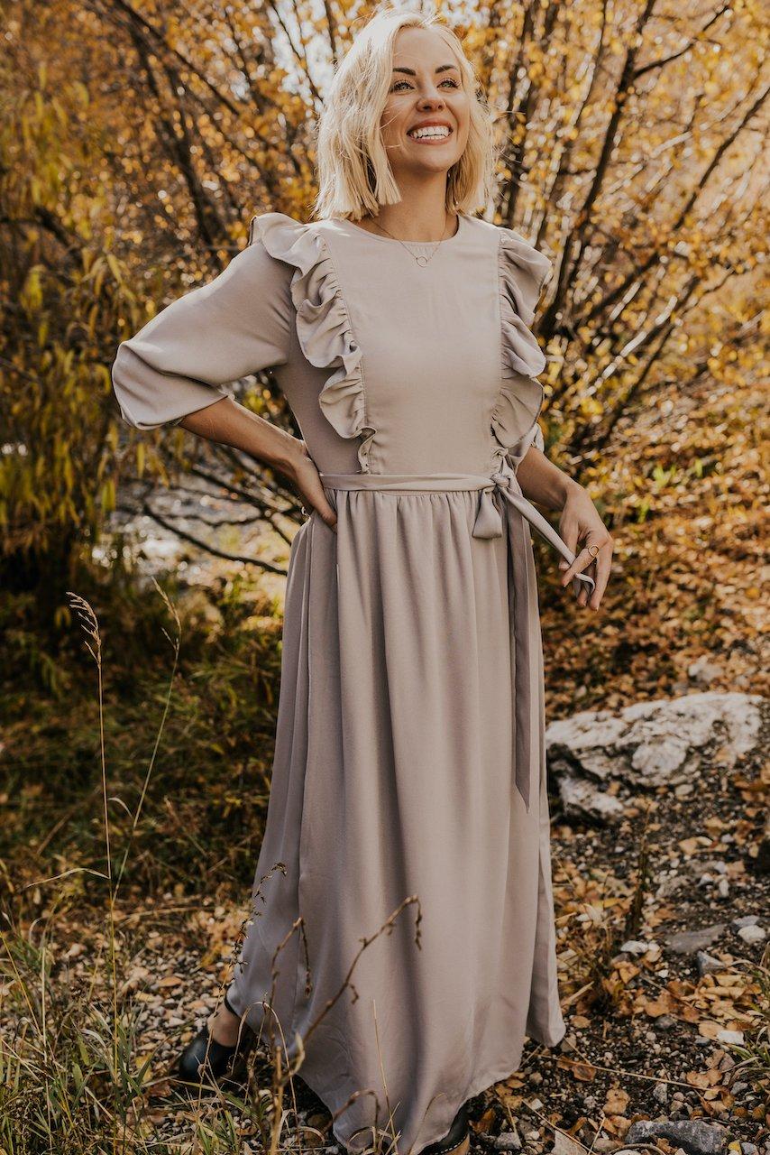 Casual taupe ruffled long sleeve maxi nursing dress