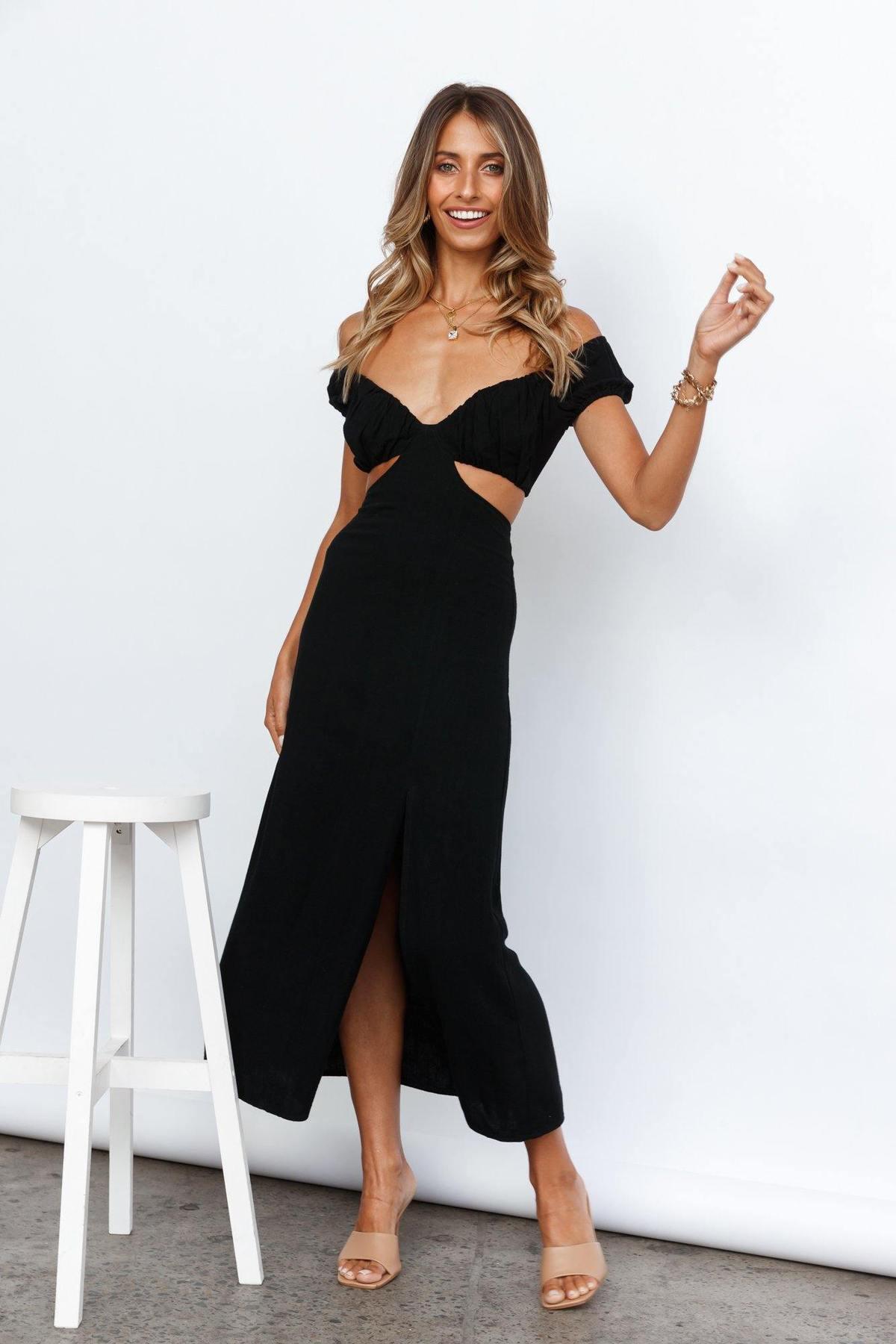 Off-shoulder cut out summer maxi dress in black