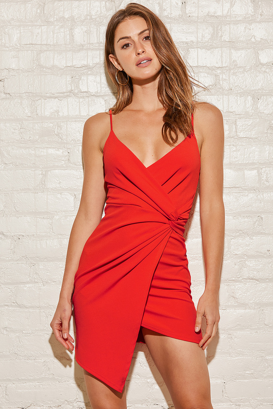 Red mini wrap dress for date night