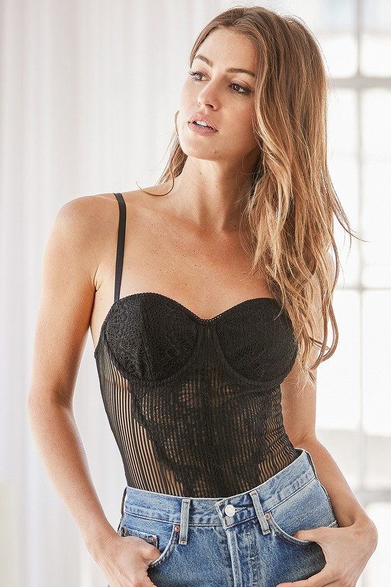 Black bustier bodysuit for date night outfits