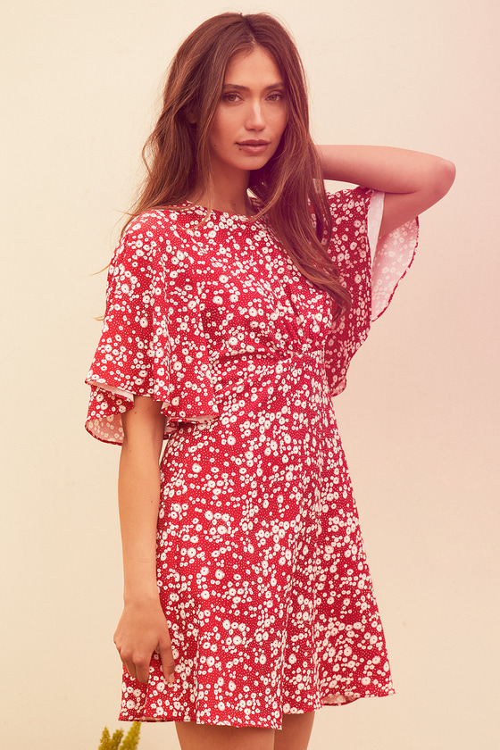 Flowly floral red dress