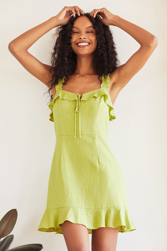 Lime green ruffled dress for gender reveal outfit