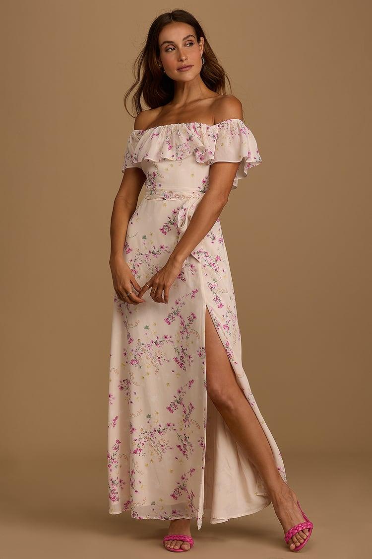 FLoral off-shoulder summer maxi dress