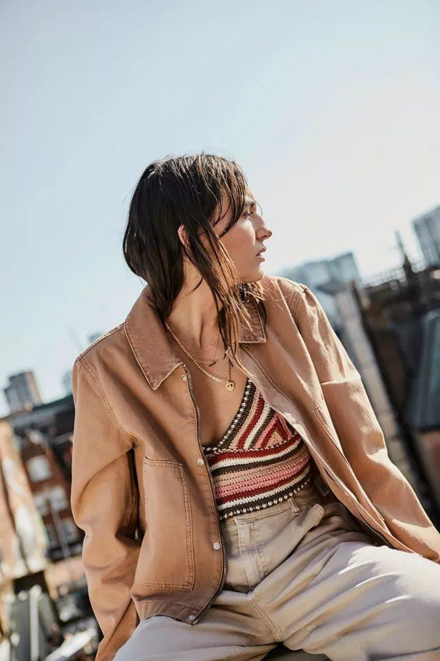 Brown blazer with knit bralette
