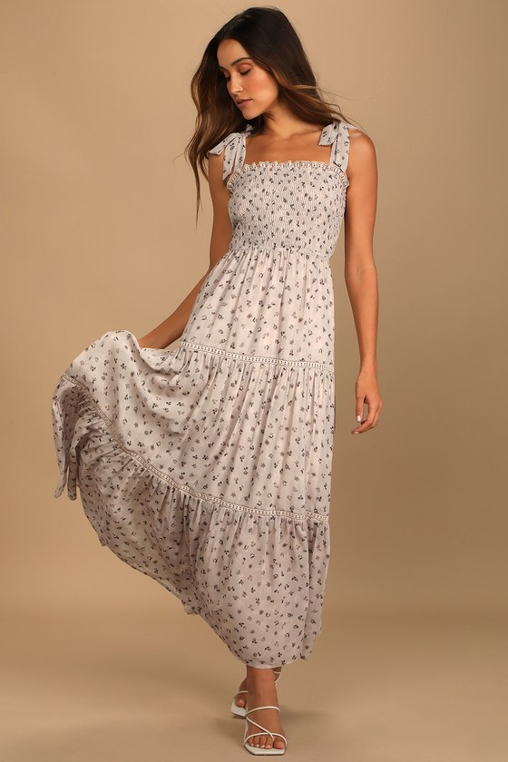Simple white maxi dress with black patterns