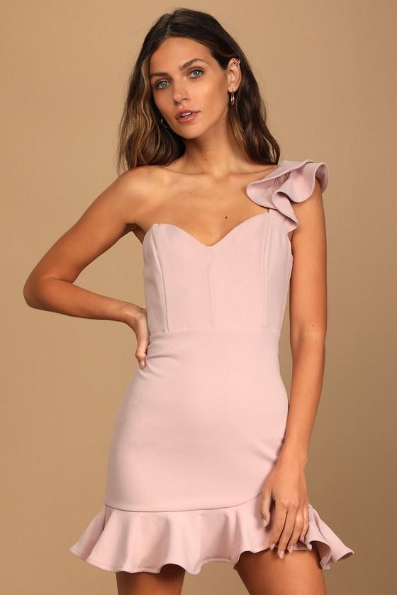 Dusty pink one-shoulder ruffled mini dress