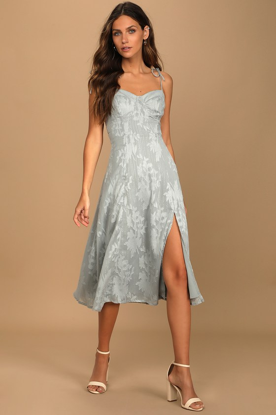 Soft gray dress wedding guest outfit