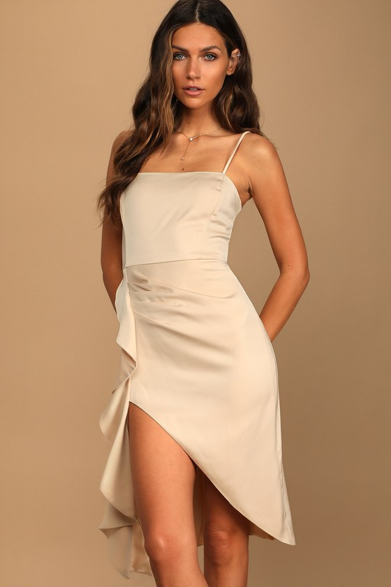 Champagne satin midi dress with high slit perfect for date night