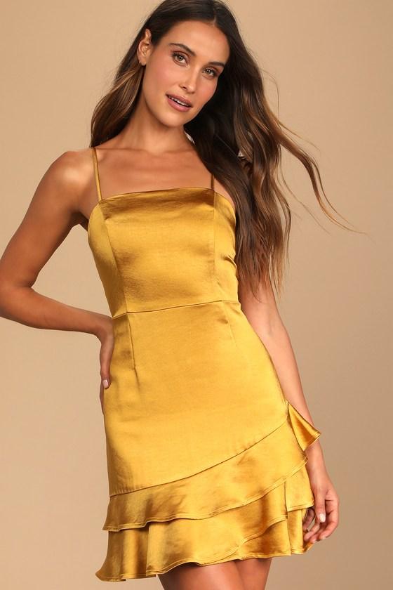 Gold satin mini dress with ruffles