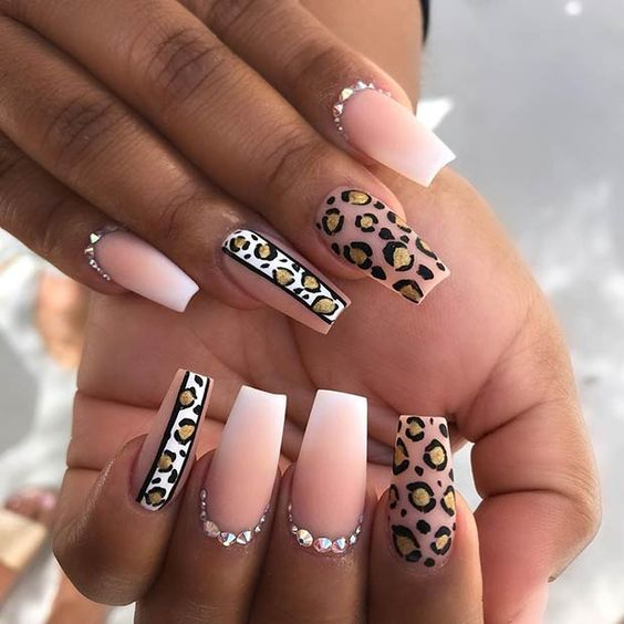 Clear leopard nails with rhinestones