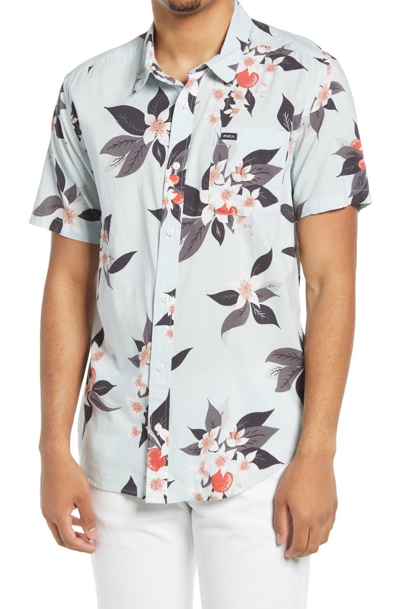 Baby blue floral button up shirt for men
